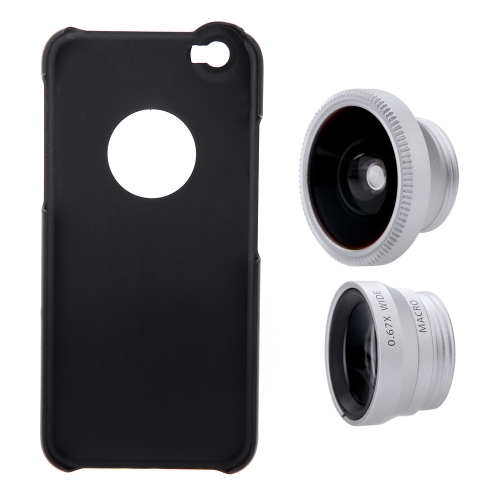 3-in-1 Phone Photo Lens 180° Fisheye 0.67X Wide Angle 10X Macro Set with Case for iPhone 6 4.7