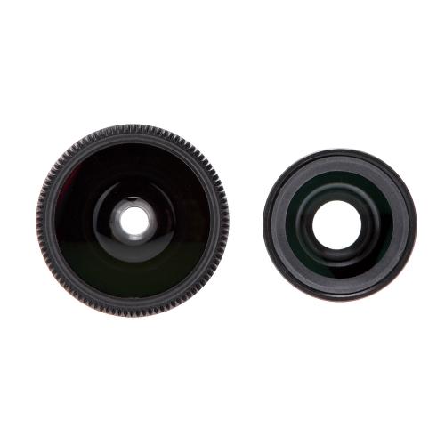 3-w-1 obiektyw zdjęcie do zdjęć 180 ° Fisheye 0.67X szerokokątny zestaw 10 x makr z obudową dla iPhone 5 5S