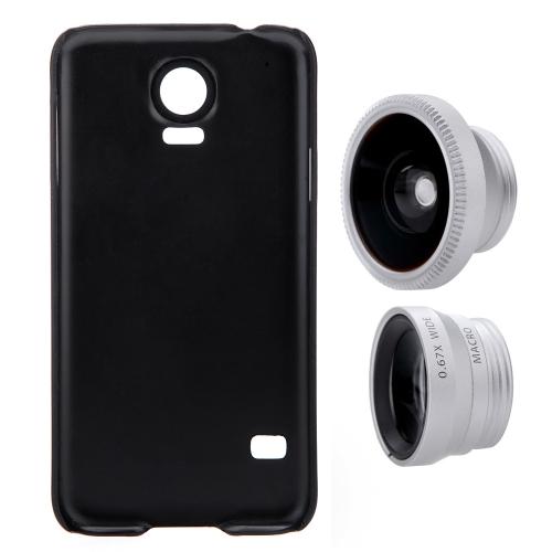 3-em-1 telefone foto lente 180° Fisheye 0,67 X grande angular 10 X Macro cravejado de caixa para Samsung Galaxy S5