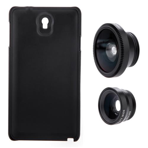3-in-1 telefono foto lente 180° Fisheye 0,67 X grandangolare 10 X Macro Set con custodia per Samsung Galaxy Nota3