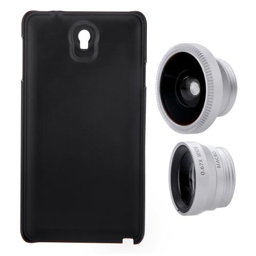 3-em-1 telefone foto lente 180° Fisheye 0,67 X grande angular 10 X Macro cravejado de caixa para Samsung Galaxy Note3