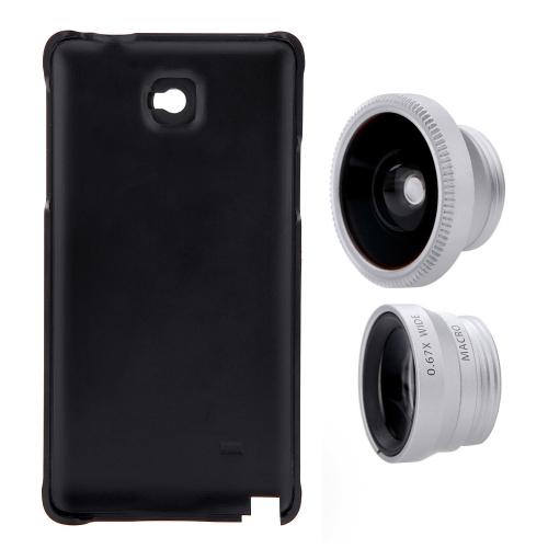 3-em-1 telefone foto lente 180° Fisheye 0,67 X grande angular 10 X Macro cravejado de caixa para Samsung Galaxy OBS4