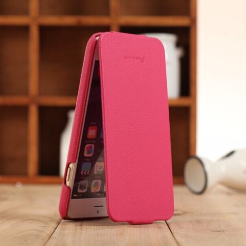 Fashion genuíno + PU couro Ultra Slim capa protetora Case Flip para iPhone 6 Plus 6S Plus