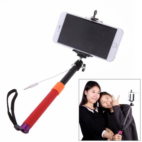 Portáteis extensíveis cabo Selfie Handheld monopé vara titular para iPhone 4S 5 5S 5 6 6 Plus Samsung Smartphone