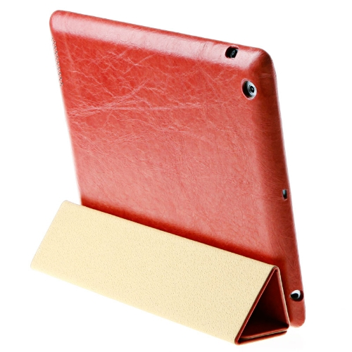 Jisoncase Red Genuine Real Leather Case Cover Stand for Apple iPad 2 3