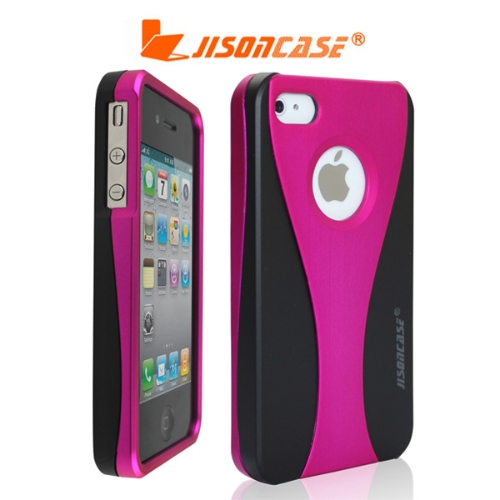 Jisoncase Rose+Black Back Hard Protective Case Cover For Apple iPhone 4 4S 4G