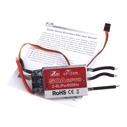Original ZTW Spider Series 50A OPTO Brushless Speed Control ESC 2-6S Lipo for Multicopter Qudcopter Part