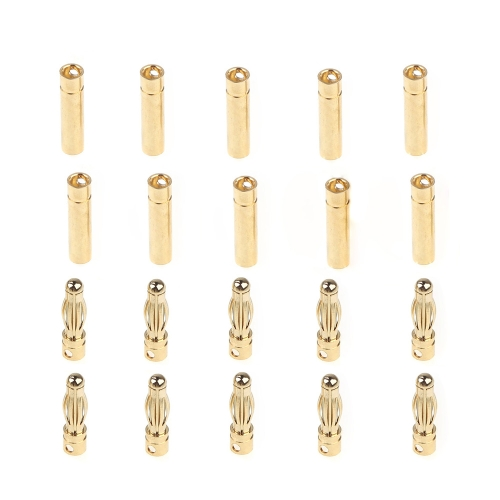 GoolRC 10 Pairs 4.0mm Copper Bullet Banana Plug Connectors Male + Female for RC Motor ESC Battery Part (4.0mm Banana Plug)