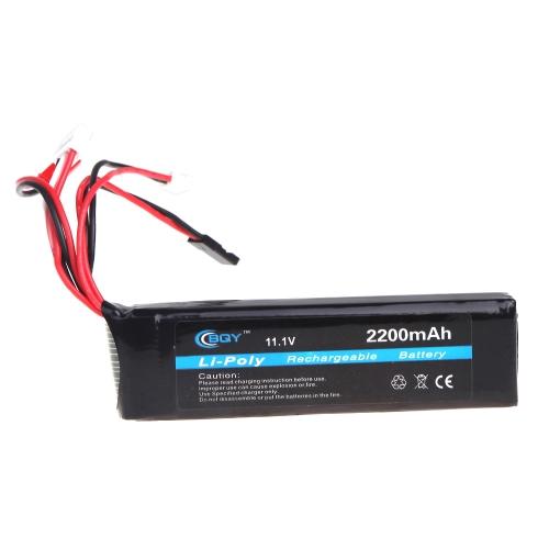 BQY trasmettitore LiPo Battery 11.1V 2200mAh 3 Connettore JR Futaba Walkera WFLY FS batteria del trasmettitore (trasmettitore LiPo 11.1V 2200mAh)