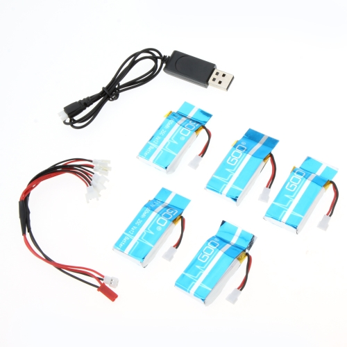 Super Fly Charger Battery Sets 3.7V 600mAh Lipo Battery 5Pcs & Charger for Syma X5C X5A Explorers Quadcopter