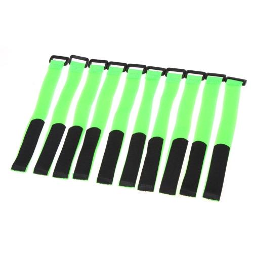 10 Pc 強い RC バッテリー滑り止めケーブルタイ ダウン ストラップ 26 * 2 cm グリーン