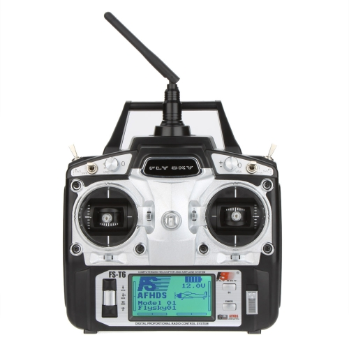 Original Flysky FS-T6 High Precision 2.4GHz 6CH Mode 2 Transmitter W/Receiver R6-B for RC Multirotor Quadcopter Helicopter Airplane Glider Car