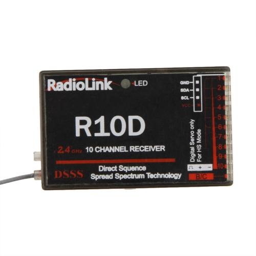 Original RadioLink R10D 2.4G 10CH DSSS Receiver for RadioLink AT9 AT10 Transmitter RC Helicopter Multirotor