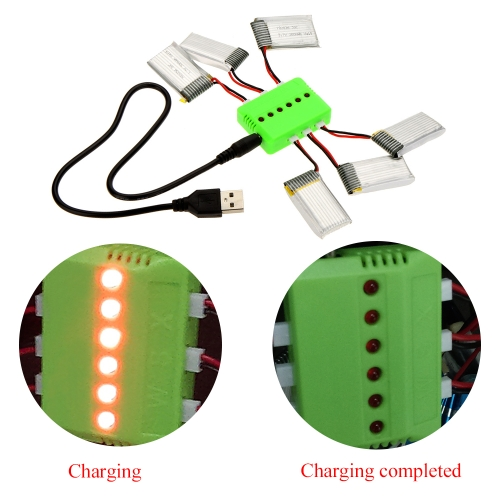 Super Fly Sets X6 Charger with 6Pcs 3.7V 300mAh Lipo Battery for Hubsan X4 H107 H107L H107C H107D Quadcopter