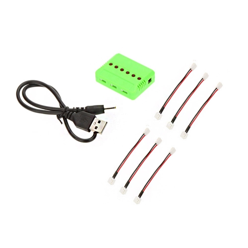 RC Helicopter Airplane 6-port USB Lipo Battery Charger with 6pcs 2.0 Charging Cable for WLtoys V911 series F929 F939