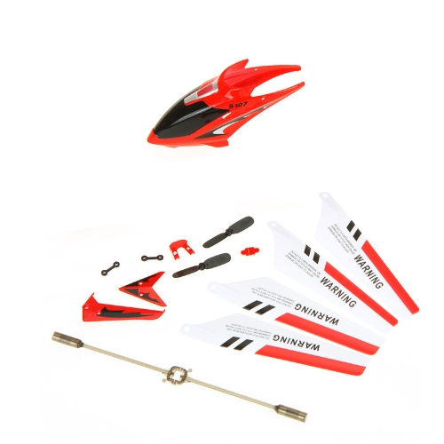 Syma Full Replacement Parts Set Spare Kit Head Cover Main Blades Balance Bar Etc for Syma S107G RC Helicopter Red