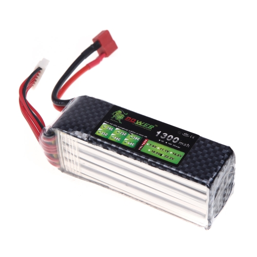 Original Lion Power Lipo Battery 22.2V 1300Mah 30C MAX 45C T Plug for Align TREX 450 450L RC Helicopter Car Airplane Battery (Align TREX 450 450L Battery,22.2V 1300Mah,Lion Power 22.2V 1300Mah)