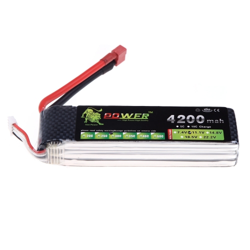 Original Lion Power Lipo Battery 11.1V 4200Mah 30C MAX 40C T Plug for DJI F450 F550 RC multirotor Qudcopter Helicopter Car Boat Airplane Battery (DJI F450 F550 Battery,11.1V 4200Mah,Lion Power Lipo Battery 11.1V 4200Mah)