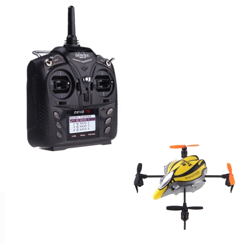 Walkera QR Infra X 6 Axis Stabilizing System UFO Quadcopter Yellow & Black w/ DEVO 7E 7CH Transmitter Model 2 (Walkera Quadcopter; QR Infra X;UFO Toys)