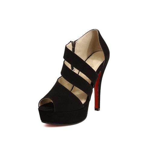 Moda donne Sexy tacchi Peep Toe Platform Scarpe dalla suola pompe nere