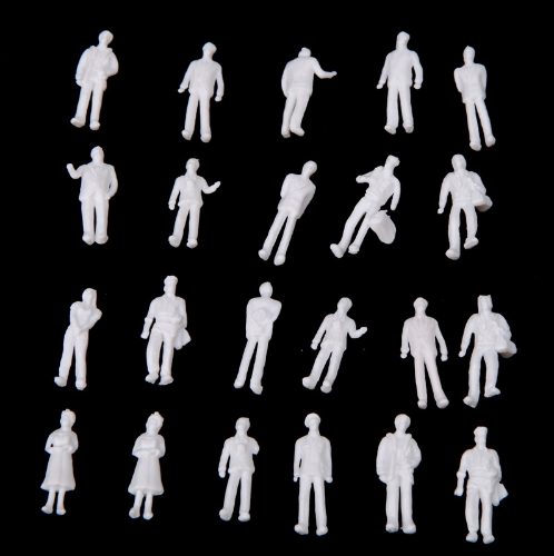 100pcs HO Scale 1:100 White Model People Unpainted Train Figures
