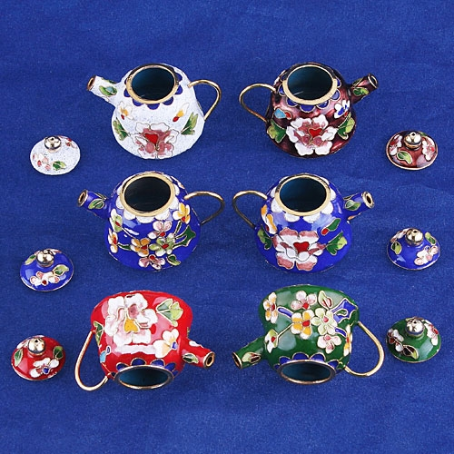 WHOLESALE 6 PCS CHINESE CLOISONNE NICE TEAPOT TPW008