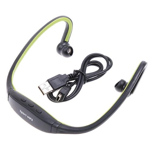 Wrap Around Wireless Headphones Headset Sport MP3 Player 2GB Green