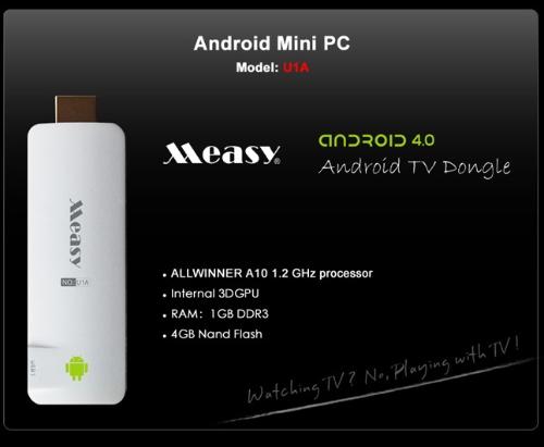 Measy U1A HD Smart TV Box Player Dongle Stick Mini PC Android 4.0 AllWinner A10 1GB DDR3 4GB WiFi HD1080P