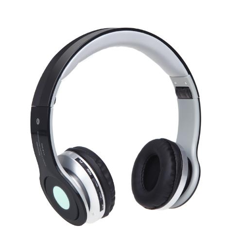 Pliable BT stéréo sans fil casque micro casque FM slot TF pour iPhone iPad PC Noir