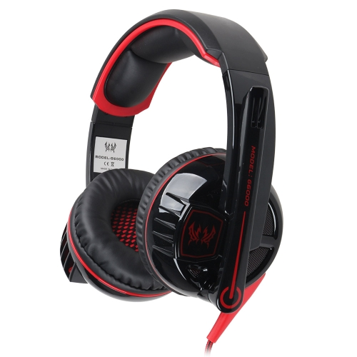 EACH G6000 Stereo Gaming Headphone Headset Headband with Mic Volume Control Glaring LED Light for PC Game  Black & Red