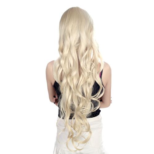 80 cm ファッション長波コスプレかつら女性の波状毛キャラクターかつら黄金の光