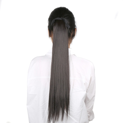 Fashion Women 5Clips Clip in Long Straight Ponytail Hairpiece Slice Synthetic Wig 24
