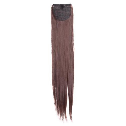 Мода женщин 5Clips клип в длинный прямой хвост Шиньон кусочек синтетической парик 24 «60 см