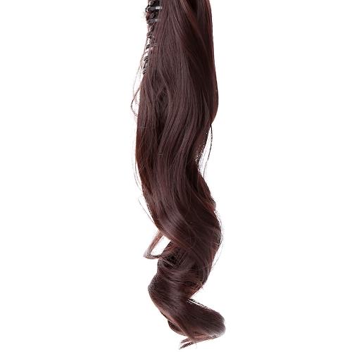 Mandíbula Clip cauda longa ondulada Ponytail peruca peruca cabelo extensão