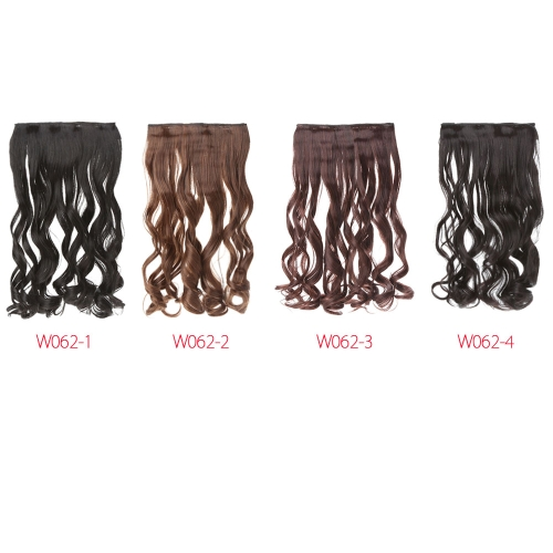 24'' 60cm lange locken Erweiterung Frauen winken Haare 5 Clips in Haarverlängerungen