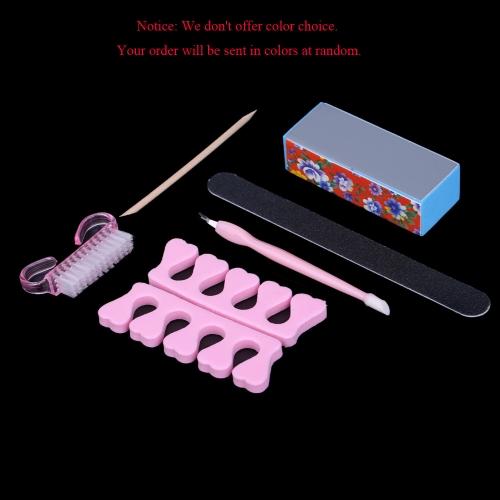 Manicure profissional 6pcs ferramentas Acessórios Kit retangular lima de unhas do dedo do pé dedo separador escova vara de madeira cutícula garfo & Pusher