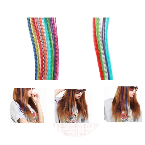 10Pcs Grizzly Women Girl Lady DIY Party Make-up Feather Hair Extensions