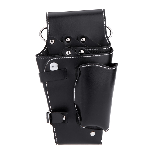 Black Waist Pack for Hairdressing Tool Soft Leather Scissors Comb Bag