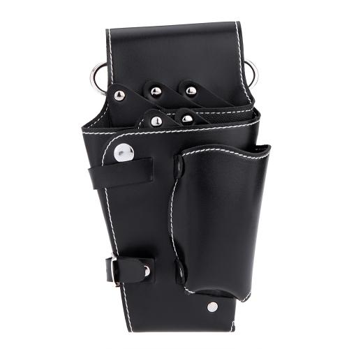 Pochete preta para cabeleireiro ferramenta couro macio tesoura pente saco