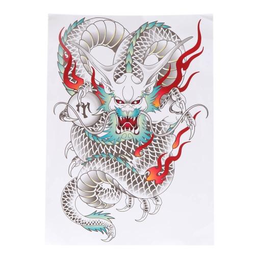 紙を入れ墨タトゥー ステッカー カラフルなドラゴン パターン一時