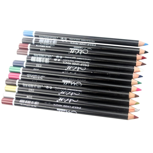 12 Farben Kosmetik Make Up Eyeliner Pencil wasserdichte Augenbrauen Beauty Pen Eye-Liner + Lip Sticks Stift