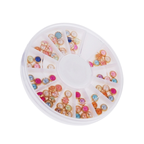 3D Nail Art Decoration Color Coated Round Shape Slice Metal Studs