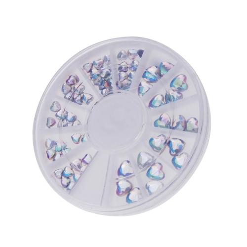 Strass de unha forma coração pêssego Nail Art decoração decalque diamante