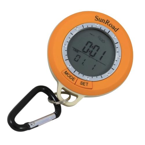 Sunroad SR108S Mini-LCD-Hintergrundbeleuchtung Digitaler Schrittzähler Höhenmesser Kompass-Thermometer-Wettervorhersage Zeit Datum Outdoor Wandern Computer-wasserdichtes Multifunktions mit Karabiner