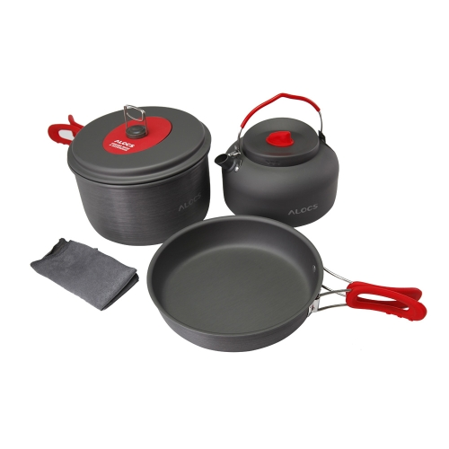 ALOCS CW-S03 2-3 People Aluminum Portable Ultralight Outdoor Non-Stick Camping Hiking Backpacking Cooking Picnic Cookware Pan Pot Kettle Dishcloth Set