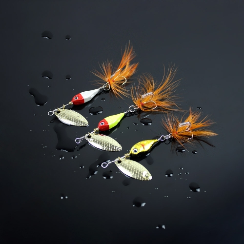 11g-9cm Spoon Hard Fishing Lure Spinner Sequin Paillette Bait with Feather Hook Tackle