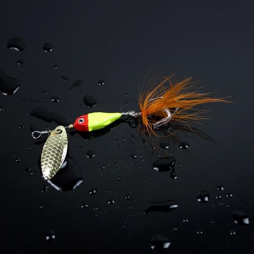 Cuchara de 11g / 9cm duro pesca señuelo Spinner Paillette lentejuelas cebo con los equipos de gancho de plumas