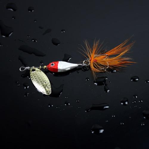Cucchiaio di 11g/9cm difficile pesca esche Spinner paillettes Paillette con piuma gancio Tackle