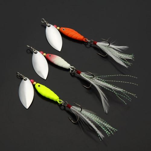 Lixada señuelos de pesca duros cuchara cebos de hilandero lentejuela paillette con Hook pluma 3 Piezas 10g / 9.5cm