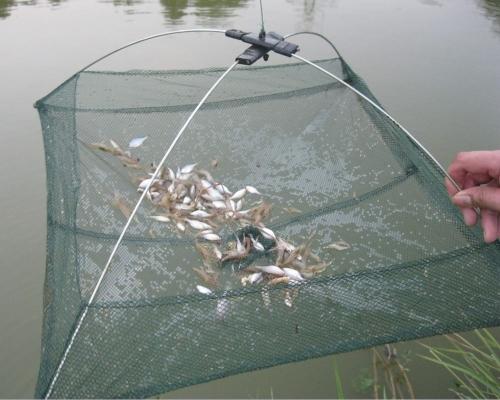 60 * 60 cm 釣り折り畳み式メッシュ餌トラップ出演ディップ ネット カニ エビ
